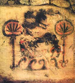 This cave painting, found in Kyushuu, Japan, is an early example of cannabis art