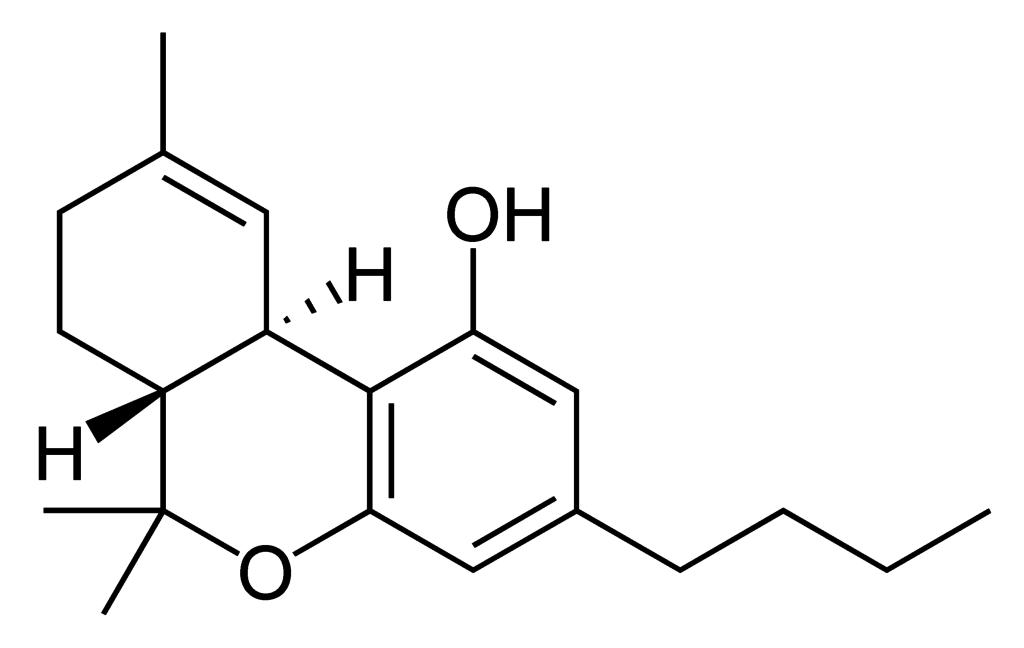 La molécule de THC, structurellement identique au cannabinol à l'exception de quatre atomes d'hydrogène supplémentaires