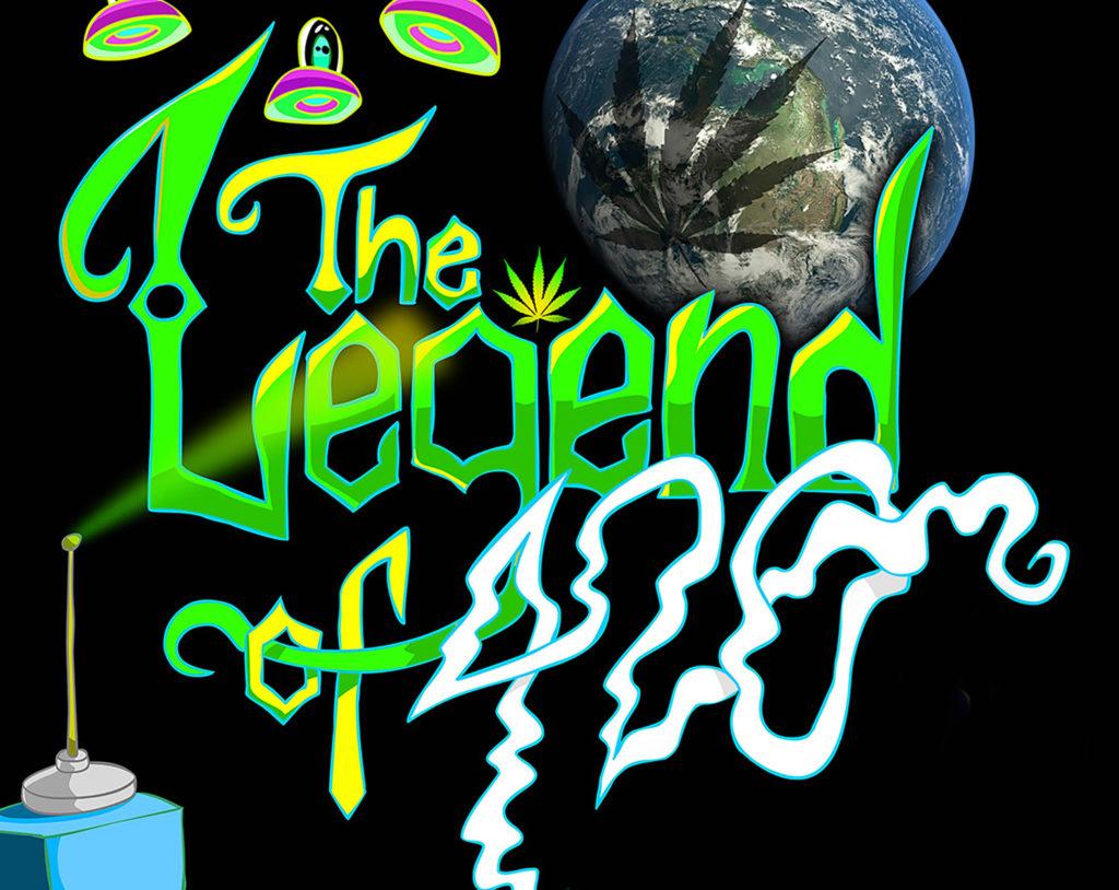 """Póster de un documental. El texto """"The Legend of 420"""" está escrito en letras de estilo de grafiti verde caótico, excepto el """"420"""", que humea y es blanco. Las caricaturas de unos ovnis con alienígenas se ciernen sobre las palabras, el planeta tierra está en la esquina superior derecha en el fondo con una gran sombra de hojas de cannabis sobre el globo terráqueo. Lo que podría ser la caricatura de una lata de pintura de grafitis se encuentra en la parte inferior izquierda de la imagen."""