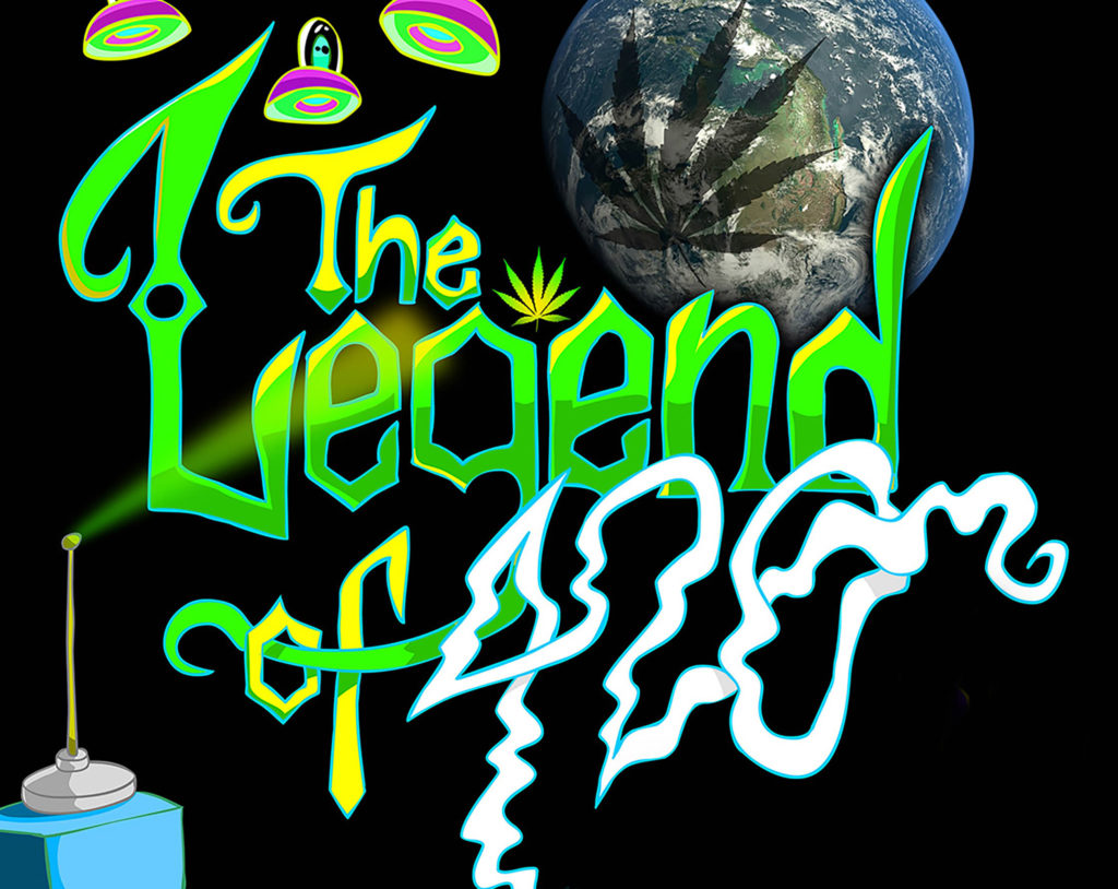 "A poster for a documentary. The text ""The Legend of 420"" is written in chaotic green graffiti style lettering, save for the ""420"" which is smoky and white. UFOs with cartoonish aliens hover above the words, the planet earth is in the top right corner on the background with large cannabis leaf shadow over the globe. What might be a cartoon graffiti can is in the bottom left of the frame"
