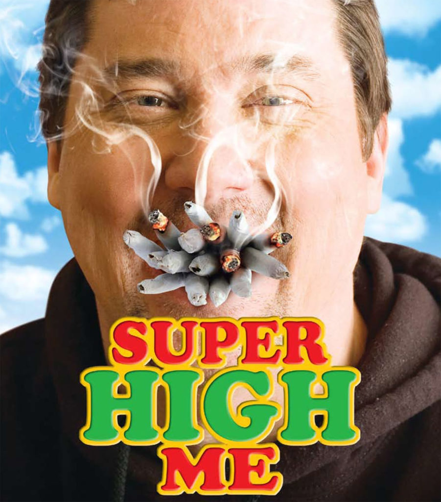 A movie poster showing a close up photo of comedian Doug Benson with over a dozen joints in his mouth. The movie title SUPER HIGH ME is written below his chin in red and green lettering with a yellow outline. Behind him is a cloudy blue sky.