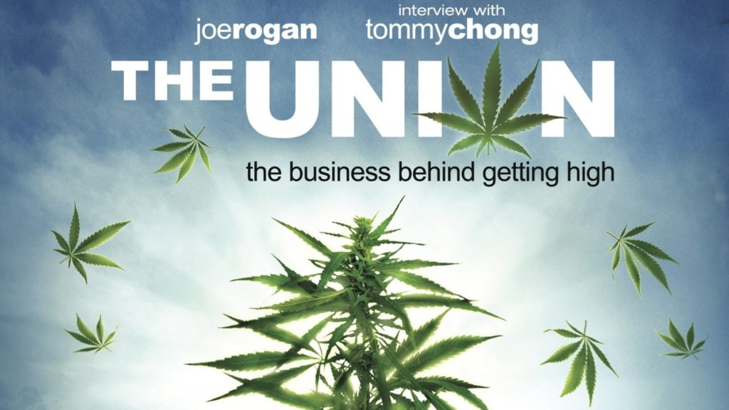 "A movie poster featuring a photograph of a cannabis plant illuminated by sunlight from behind. Around it petals of cannabis leaf float through the cloudy blue sky. The title, written in large white letters, reads: The Union. The ""O"" for Union is written with a cannabis leaf. Above the title reads ""Joe Rogan"" and ""interview with Tommy Chong""."