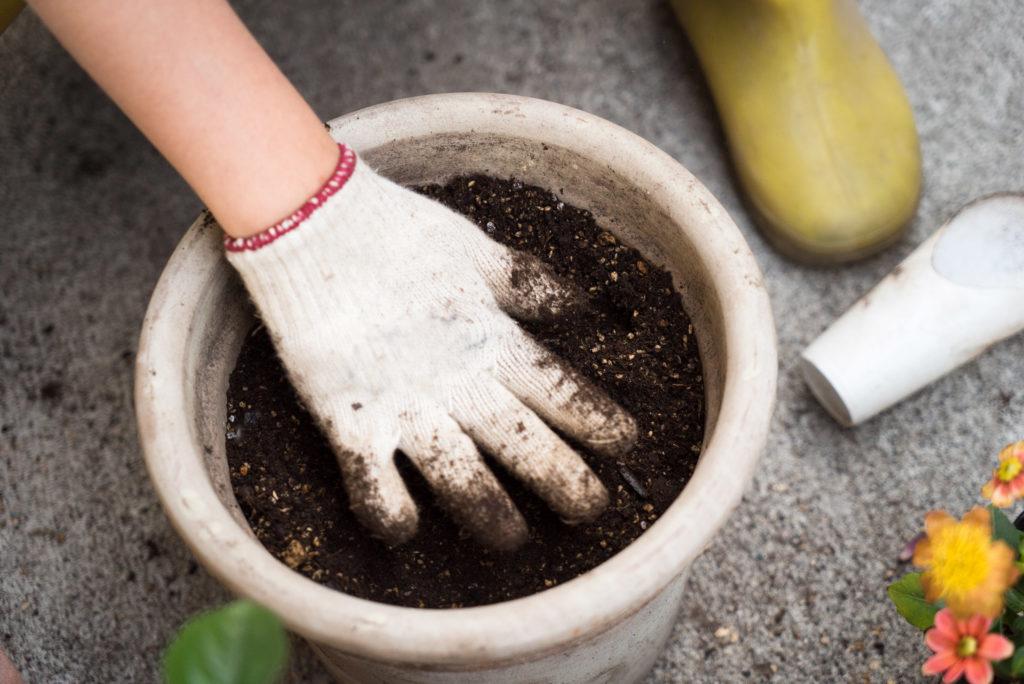 Een foto van een gehandschoende hand die in de aarde van een grote witte pot voelt. Ook zichtbaar rondom de pot zijn bloemen, een gele regenlaars en de betonnen bodem.