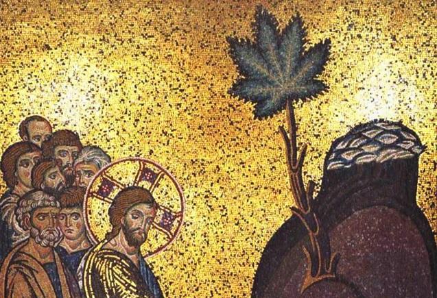 Una imagen religiosa que presenta a un grupo de hombres mirando hacia una planta de cannabis.