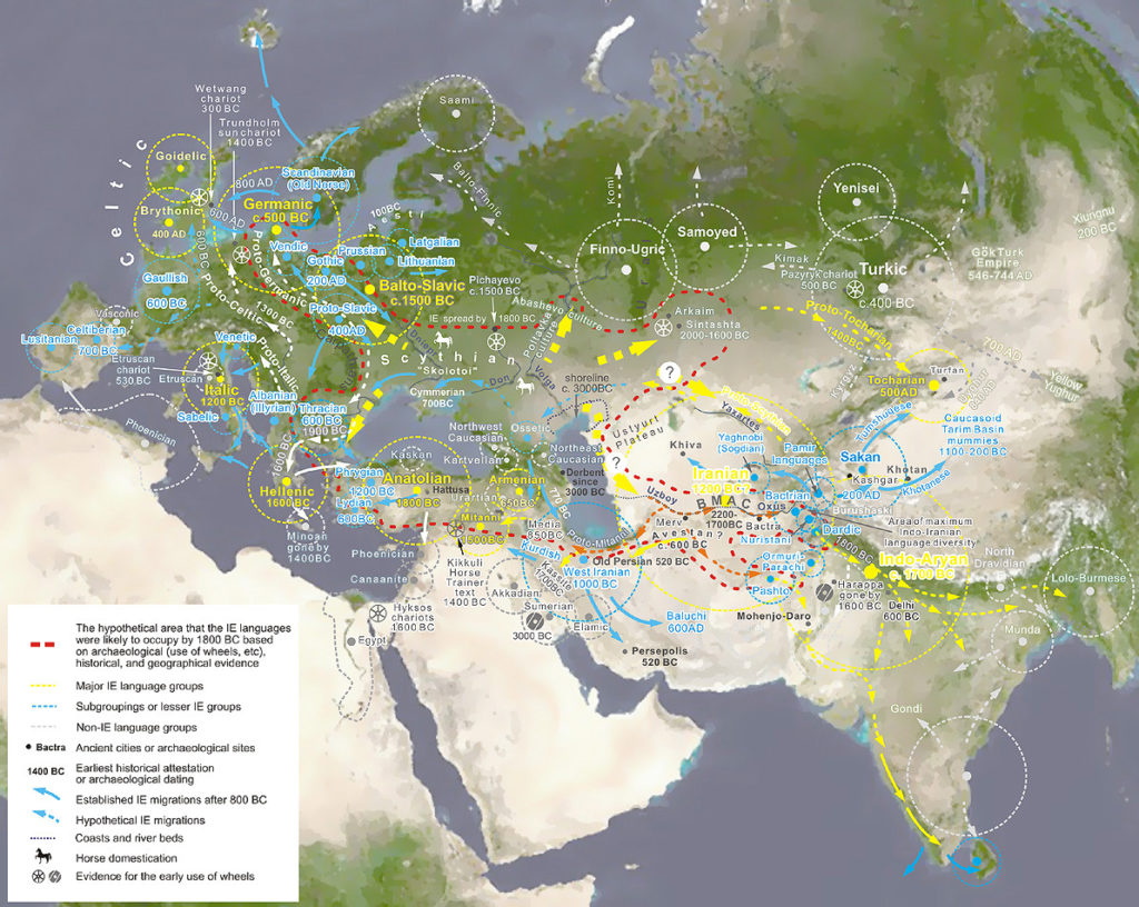 A contemporary map depicting Indo-European Migration and the expansion of Indo-European languages.