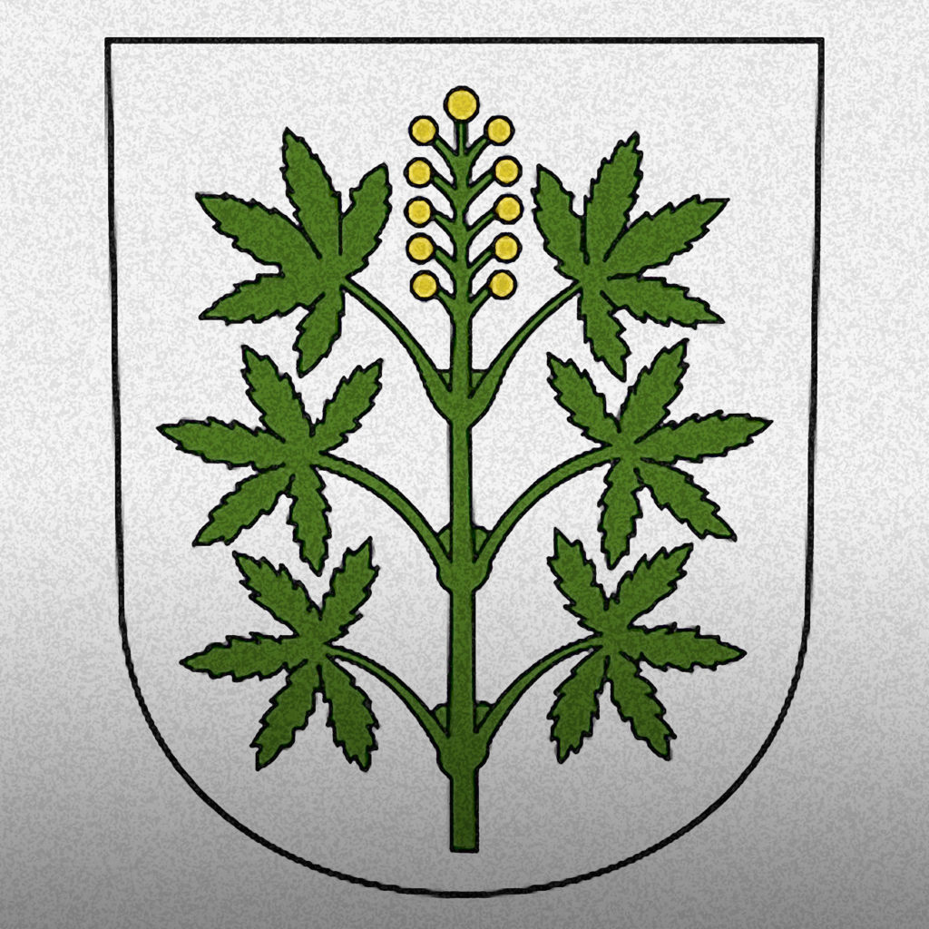 An image of the Coat of arms of Wangen-Brüttisellen, in Zurich Switzerland. It features a single hemp plant with six marijuana leaves on a white background.