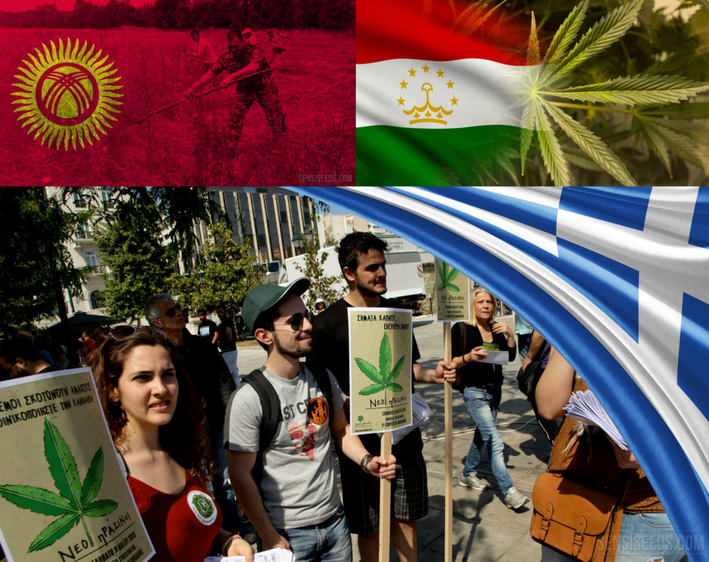 A collage image including: the flag of Kyrgyzstan superimposed on farmers working a field, the flag of Tajikistan blending into an image of a marijuana leaf, and a photograph of Greek pro-marijuana protestors with the Greek flag in the top right corner.