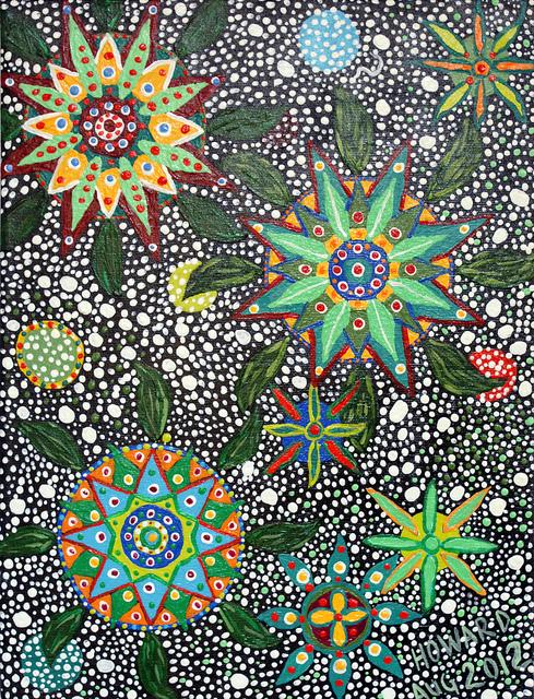 DMT is een ingrediënt van ayahuasca, een krachtige hallucinogeen die bij gebruikers kunst als deze kan opleveren (Howard G Charing)