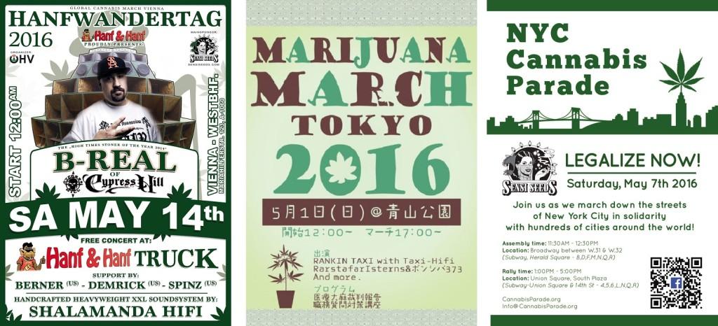 Global Marijuana March flyers