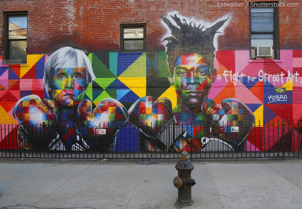 Jean Michel Basquiat and Andy Warhol street art