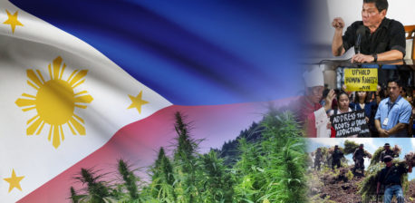 The flag of the Philippines, cannabis plants, and images of the 'war on drugs'