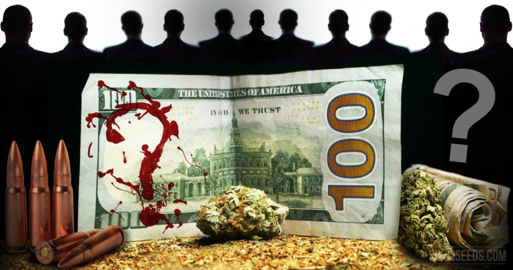 Honderd dollarbiljet met rode splatters op het in de vorm van een vraagteken