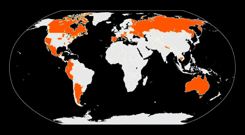 Kaart van plaatsen waar cannabis is gedecriminaliseerd
