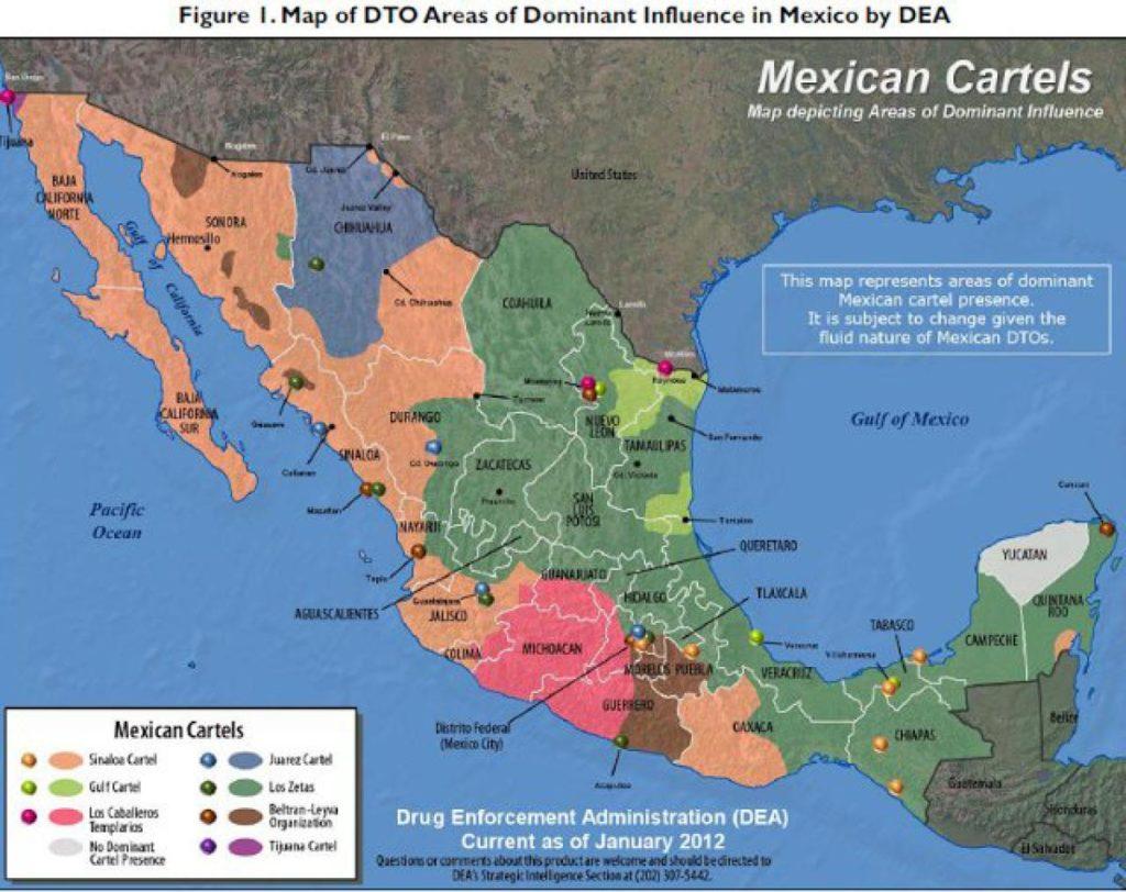 Karte der wichtigsten mexikanischen Kartelle und ihrer Gebiete (© DEA)