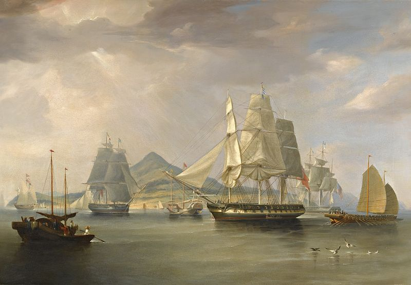 """The Opium Ships at Lintin, China"" by William John Higgins"