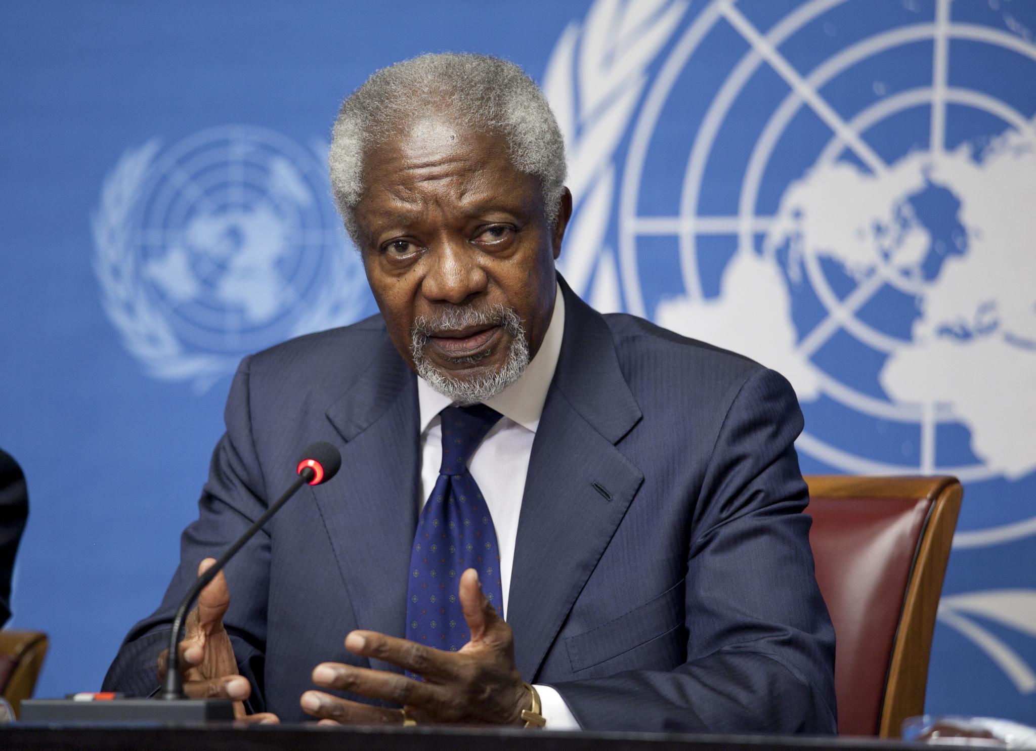 Kofi Annan, ancien Secrétaire général des Nations Unies et membre de la Commission (CC. United States Mission Geneva)