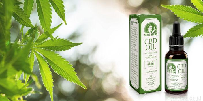 Fotomontage waarop rechts de verpakking en de fles van CBD-olie van Sensi Seeds te zien zijn en links meerdere bladeren van een cannabisplant. De achtergrond is wazig gemaakt met een bokeh-effect.