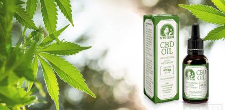 Fotomontage auf der rechts die Verpackung sowie Flasche des CBD-Öls von Sensi Seeds und links mehrere Blätter einer Cannabispflanze zu sehen sind. Der Hintergrund wurde durch einen Bokeh-Effekt unscharf gemacht.