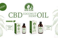 """Fotomontaje en el que se ve a la izquierda el bosquejo de un coco y hojas de cannabis, y a la derecha dos envases y frascos del aceite de CBD-coco-cáñamo de Sensi Seeds. En la fotografía de producto de la izquierda se trata de 500 mg de CBD en un frasco de 250 ml, el de la derecha son 1000 mg de CBD, en total 500 ml. En la parte central superior se encuentra el logotipo de Sensi Seeds, debajo en grandes letras leemos """"CBD Coconut Hemp Oil"""", debajo """"Natural"""" junto a una hoja verde. Arriba a la izquierda vemos también """"New!"""" en un marco separado."""
