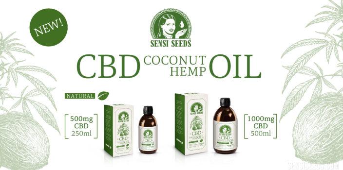 """Fotomontage waarop links de schets van een kokosnoot en cannabisbladeren te zien zijn en rechts twee verpakkingen en flessen van CBD-kokos-hennep-olie van Sensi Seeds. Bij de linker productfoto gaat het om 500 mg CBD in een flesje van 250 ml, rechts gaat het om 1000 mg CBD in totaal 500 ml. Midden bovenin staat het logo van Sensi Seeds, eronder staat in grote letters """"CBD Coconut Hemp Oil"""", eronder """"Natural"""" naast een groen blad. Linksboven staat ook nog """"New!"""" in een apart kader."""