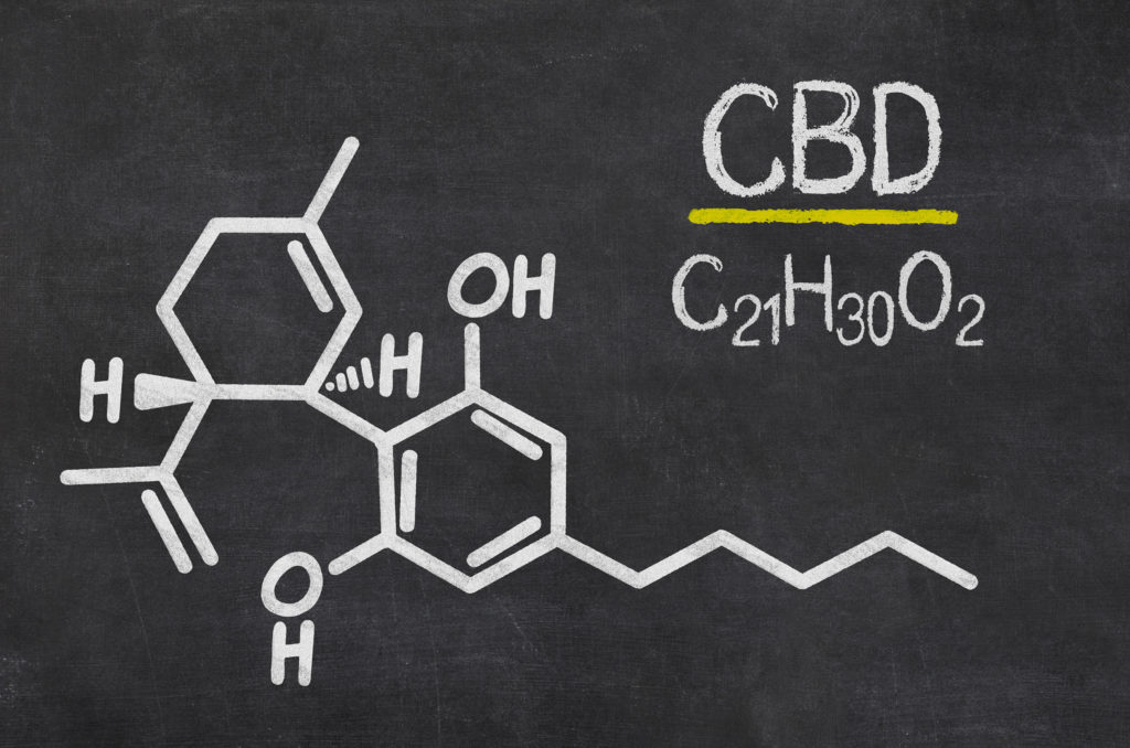 "Photo of a blackboard on which, on the left, is written the structural formula of CBD and on the right ""CBD"" and below the formula ""C21H30O2"". There is a yellow line between CBD and the formula."