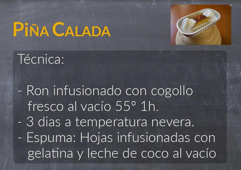 Una diapositiva con la descripción de la receta de un cóctel Sólido de Piña Calada.
