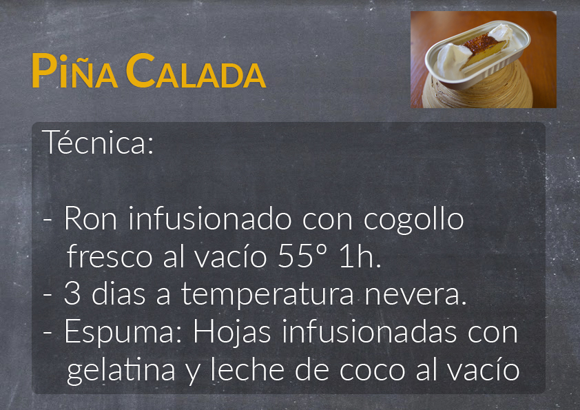 A slide describing the recipe for a Sólido Piña Calada cocktail.
