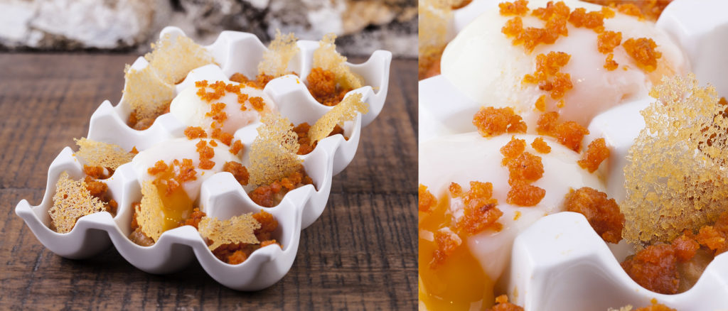 "Two photos placed side by side, a medium and a close up, of a dish dubbed ""The Happy Chicken Eggs."" The lightly cooked eggs are served in a ceramic egg box with crystallised honey and sobrassada crumbs."