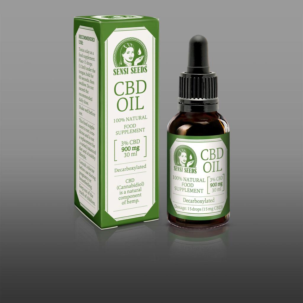 Een flesje Sensi Seeds CBD Olie gepositioneerd naast de productverpakking, op een donker grijze achtergrond.