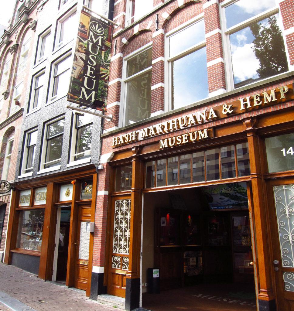 """Foto del Hash Marihuana & Hemp Museum en Ámsterdam. La puerta doble de entrada está abierta. En la entrada, hay varias vitrinas con objetos de la colección y un panel luminoso con variedades de cannabis de Sensi Seeds. En la moqueta del suelo de la entrada, hay una hoja de marihuana verde y debajo pone """"Museum"""" en blanco y mayúsculas."""