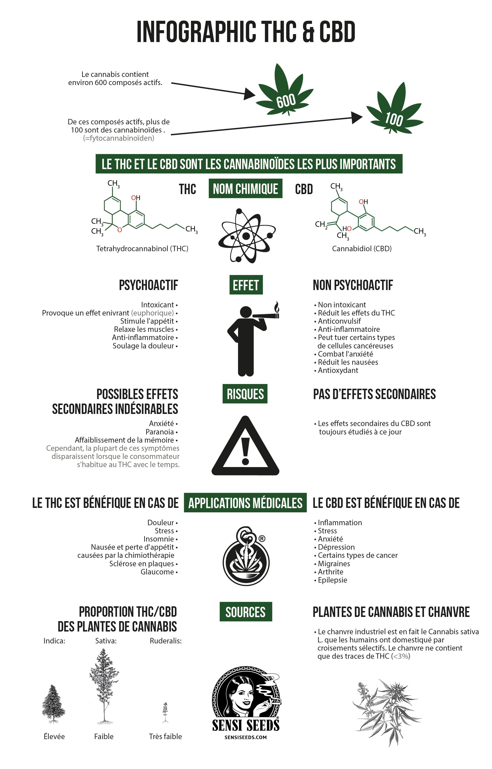 Infographie illustrant les différences entre le tétrahydrocannabinol (THC) et le cannabidiol (CBD). Les comparaisons sont faites (de haut en bas) entre les formules structurelles des composés chimiques, les effets, les risques, les usages médicaux et les sources.