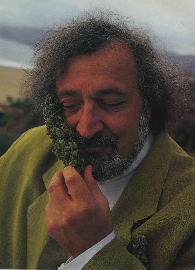 Fotografía del activista del cáñamo Jack Herer sujetando una larga rama de cannabis con cogollos que le tocan la mejilla. Lleva un traje de chaqueta verde lima y una camisa blanca. Tiene el pelo gris oscuro y barba. Tiene los ojos cerrados.
