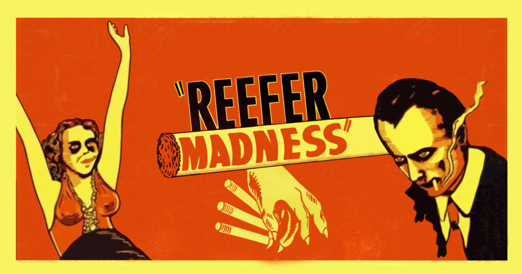 """A poster for """"Reefer Madness"""" with a woman and a man smoking"""