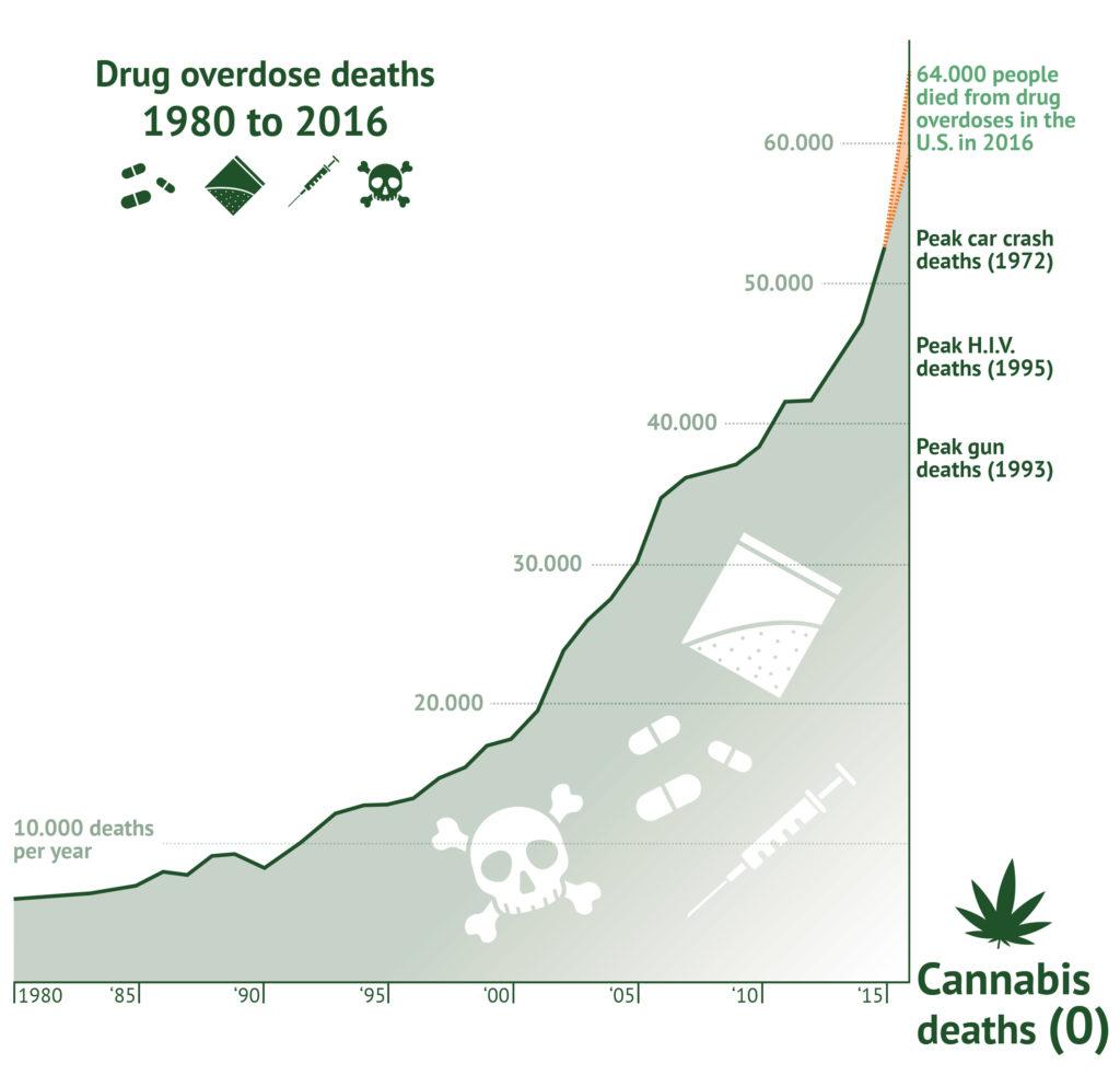 Eine Infografik, die Todesfälle durch Überdosierung von Drogen in den USA von 1980 bis 2016 darstellt. Symbole repräsentieren Pillen, Pulver, Spritzen. Totenkopf und Knochen stehen für den Tod. Ein Graph zeigt einen exponentiellen Anstieg von 10.000 Todesfällen pro Jahr bei Drogenüberdosierungen.