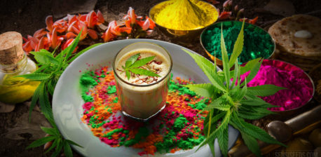 Bhang Ki Thandai drink with colorful herbs around it, surrounded by cannabis leaves