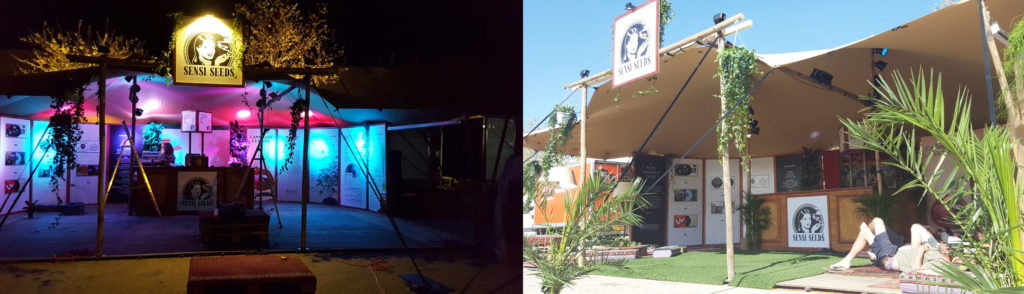 The photo shows the festival marquee of Sensi Seeds - on the left with multi-coloured lights at night, and on the right during the day under a blue sky.