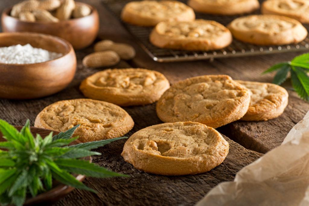 Foto von hellbraun gebackenen Cookies. Vorne links ist eine Cannabispflanze zu erkennen. Im Hintergrund befinden sich eine mehlige Substanz und Erdnüsse.