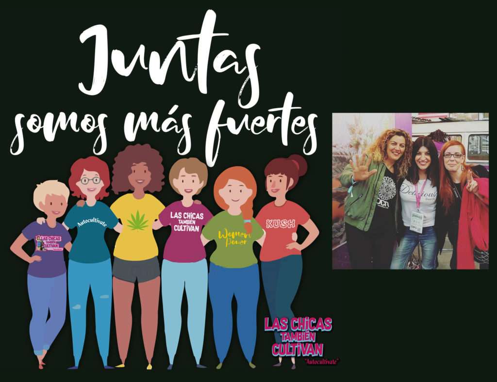 """Fotomontage met links een tekening in tekenfilmstijl van een groep van zes vrouwen die in de camera kijken. Daarboven staat in witte letters de tekst """"Juntas somos más fuertes"""" (samen sterker). Rechtsonder de groep staat """"Las Chicas también cultivan"""" (Vrouwen telen ook). Rechts op de fotomontage zien we een foto van drie lachende vrouwen."""