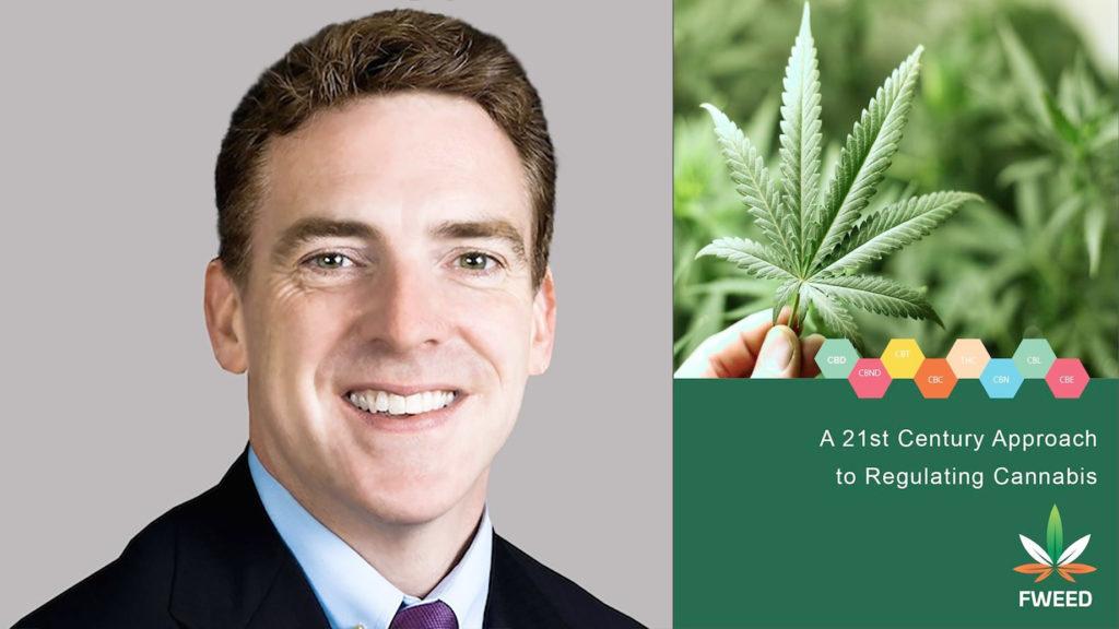 Photomontage avec, à gauche, un portrait de Niall Neligan et, à droite, la photo d'une feuille de cannabis. On voit, sous la feuille de cannabis, des hexagones colorés dans lesquels sont imprimés les acronymes des cannabinoïdes, et en dessous, le texte « A 21st Century Approach to Regulating Cannabis ». Le logo « FWEED » est visible en bas à droite.