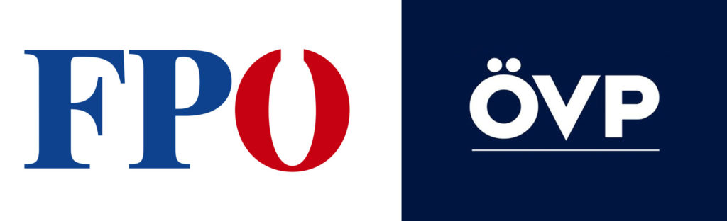 On the left, the picture shows the logo of the FPO (Freedom Party of Austria) and on the right the logo of the OVP (Austrian Popular Party).