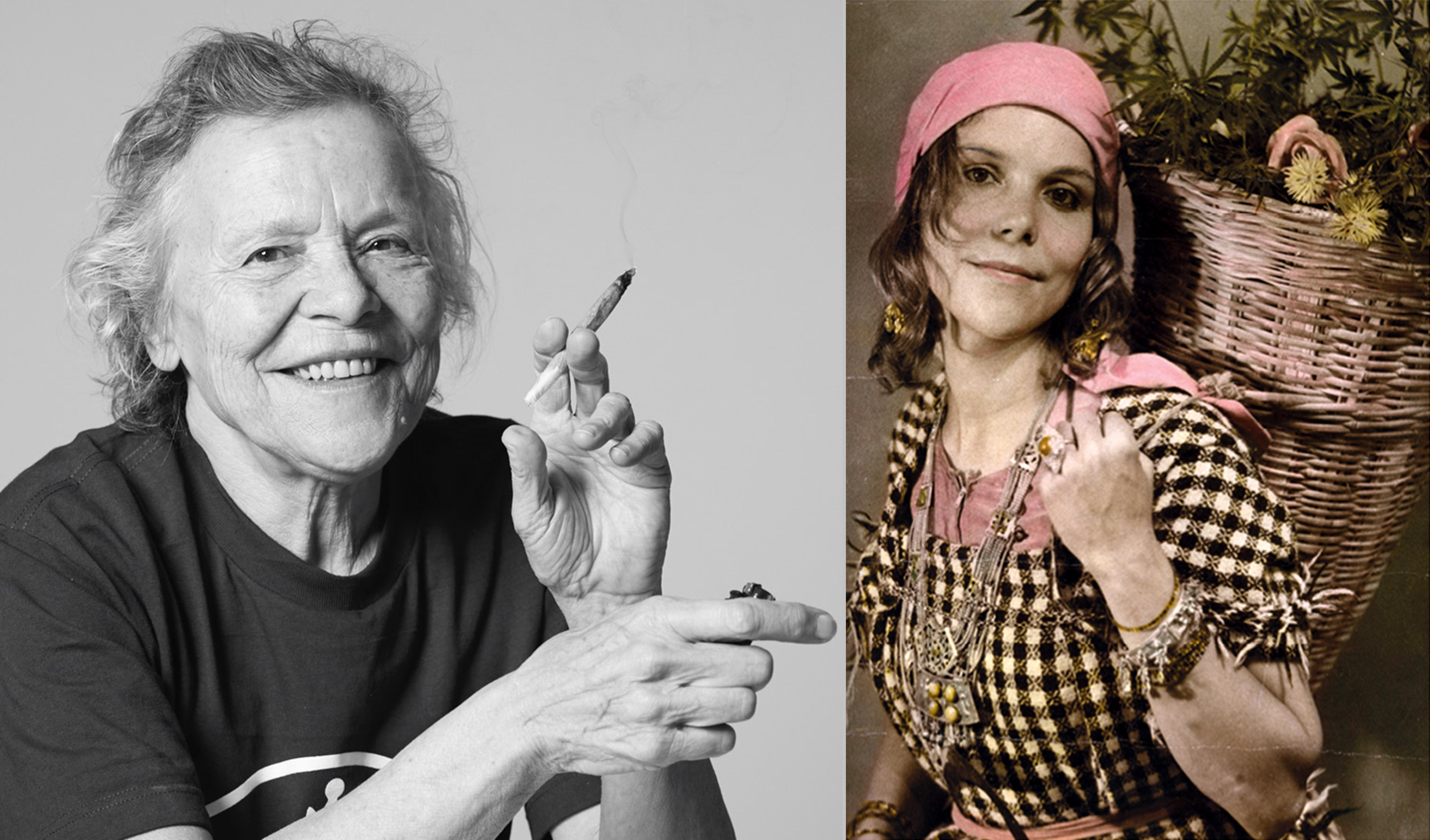 Two photographs of cannabis legend Mila Jansen. On the left, a black-and-white photograph that shows her laughing and holding a joint in her hand. On the right, a young Mila with a pink bandana around her head and a basketful of cannabis, which she is carrying on her back.