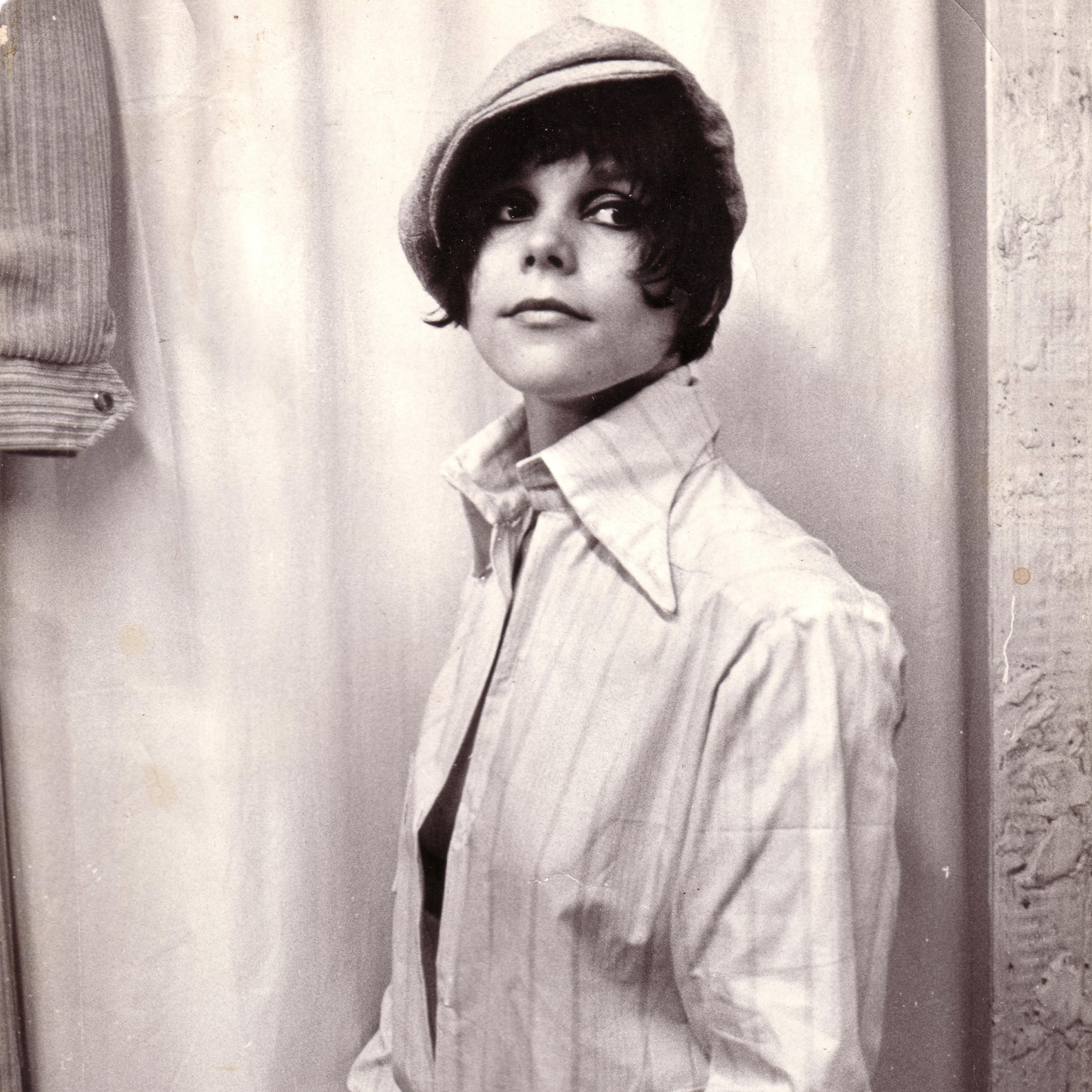 Picture of cannabis legend Mila Jansen that was taken in 1967. Mila has a short haircut, which was fashionable in those days, and is wearing a cap and a man's shirt.