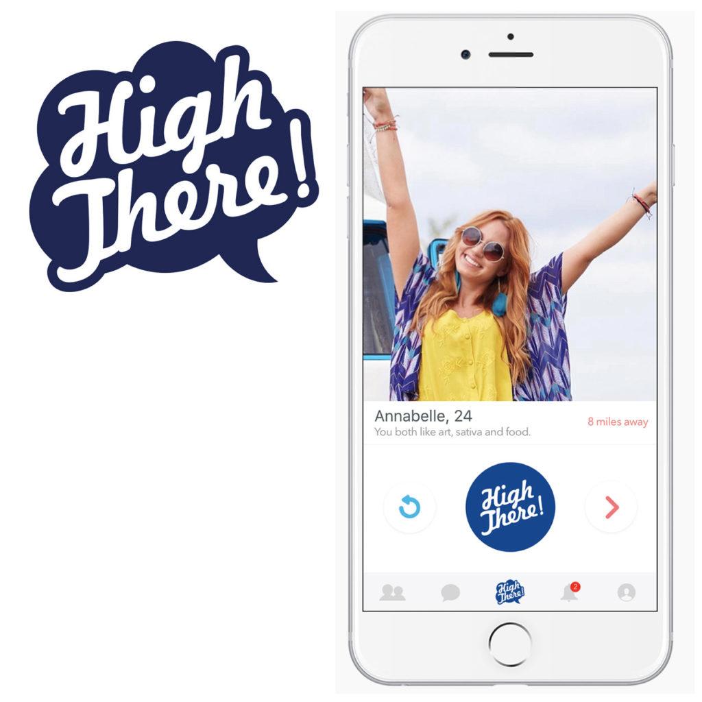 Promotiefoto voor de 'High There!'-datingapp die zich richt op cannabisgebruikers. Links zie je het logo; rechts zie je een mobieltje waar de app op te zien is met een lay-out die lijkt op de welbekende datingapp Tinder.