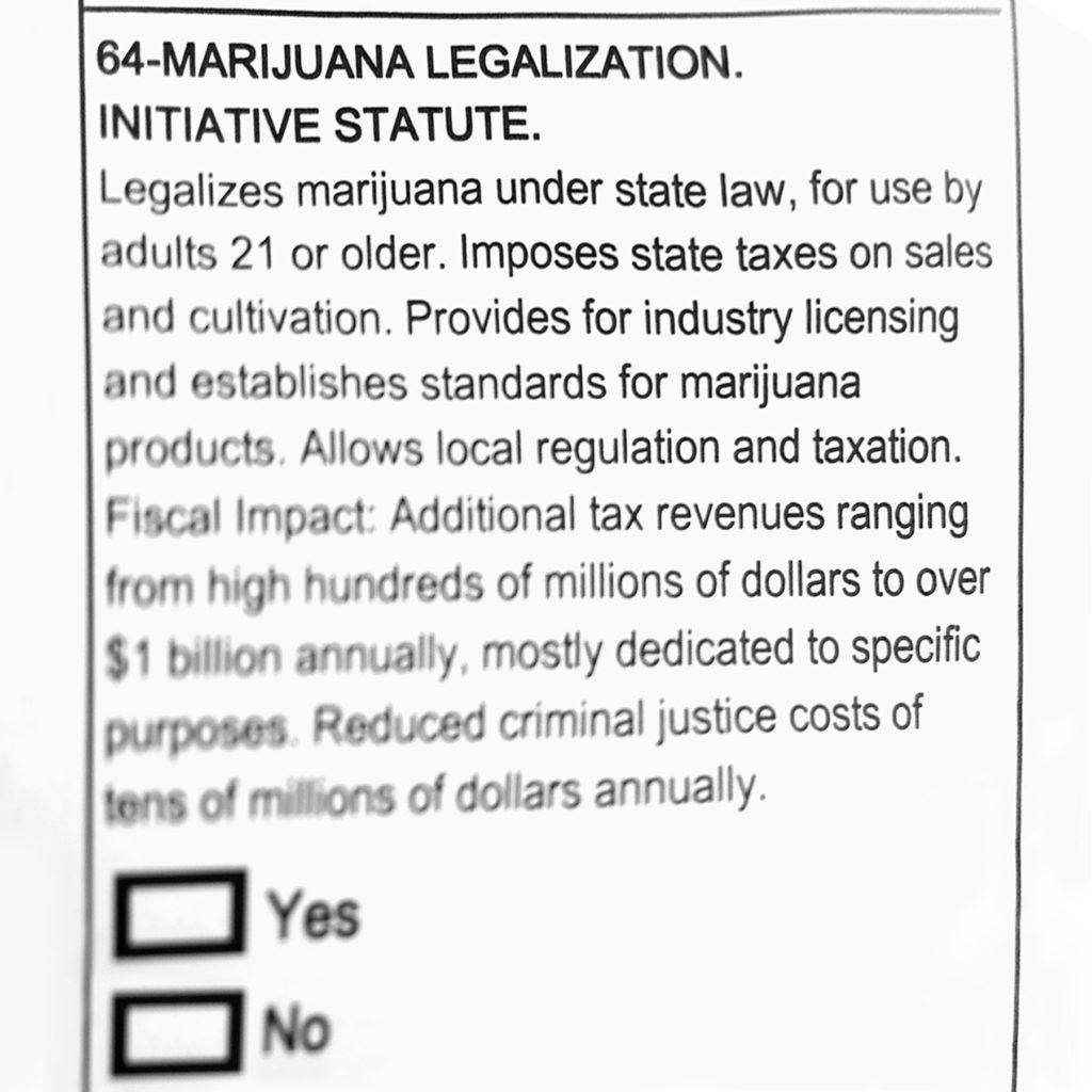 Photo d'un extrait de la Proposition 64, un texte de loi qui définit la légalisation du cannabis en Californie.