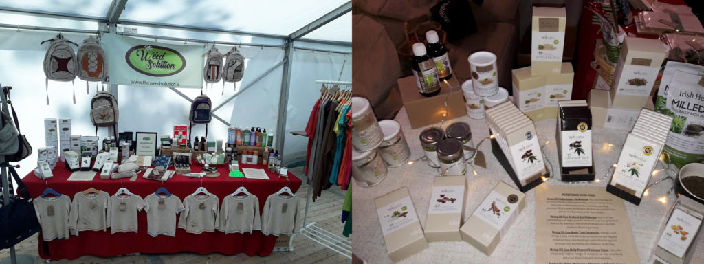 Two photos of a Weed Solution trade fair stand, where various hemp-related products are being sold. Rucksacks, t-shirts and packets of chocolate are clearly visible.