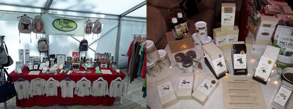 Deux photos juxtaposées d'un stand du salon commercial Weed Solution sur lequel sont vendus de nombreux produits dérivés du chanvre. On peut clairement voir des sacs à dos, des t-shirts et des tablettes de chocolat.