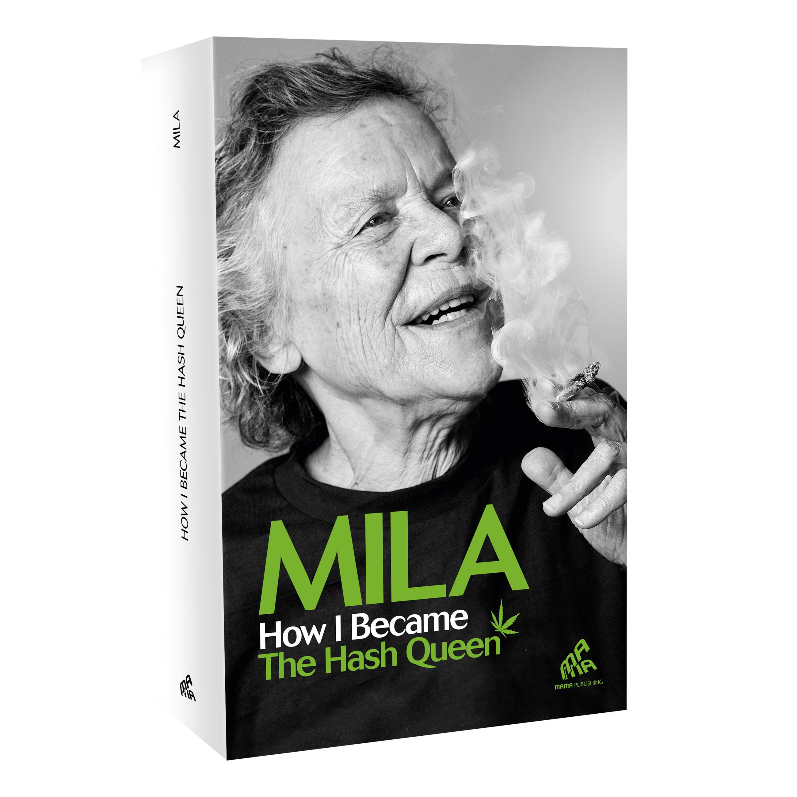 Een boek met een zwart-witdeksel getiteld Mila hoe ik de hash-koningin werd