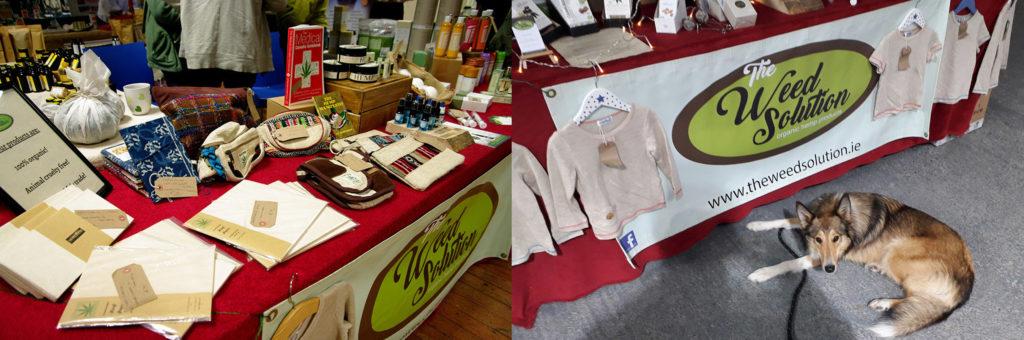 Deux photos juxtaposées d'un stand du salon commercial Weed Solution sur lequel sont vendus de nombreux produits dérivés du chanvre. On voit sur la photo de droite un chien allongé devant le tréteau du stand.