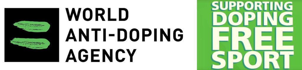 White and green banner of the World Anti-Doping Agency promoting doping-free sport.