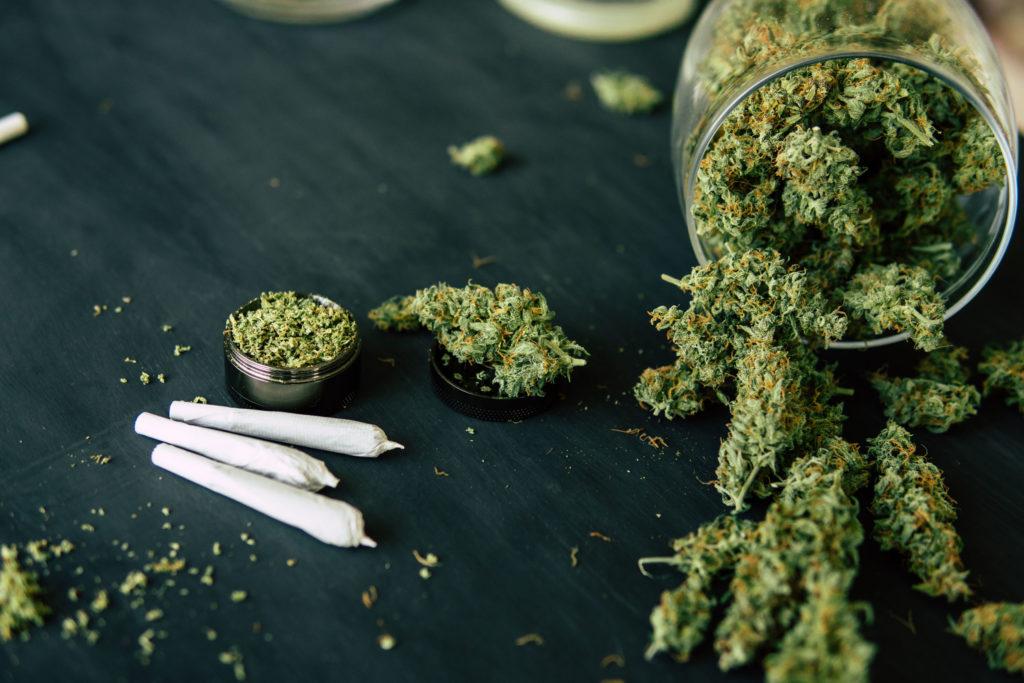 Foto eines Glasbehälters, der offen auf einem dunklen Tisch liegt. Im Behälter und auf dem Tisch befinden sich getrocknete Cannabisblüten. Auf dem Tisch liegen zudem drei kleine Joints und ein Grinder mit Gras.
